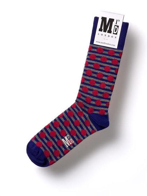 Stripe Spot Fine Sock - Purple/Pink