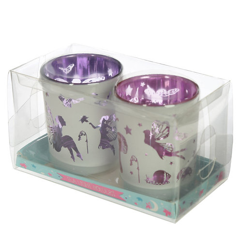 Fairy Garden Set of 2 Glass Tea Light Holder