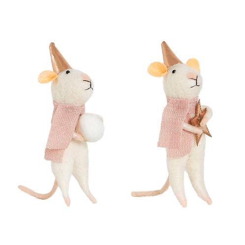Assorted Star & Snowball Mice Felt Decorations