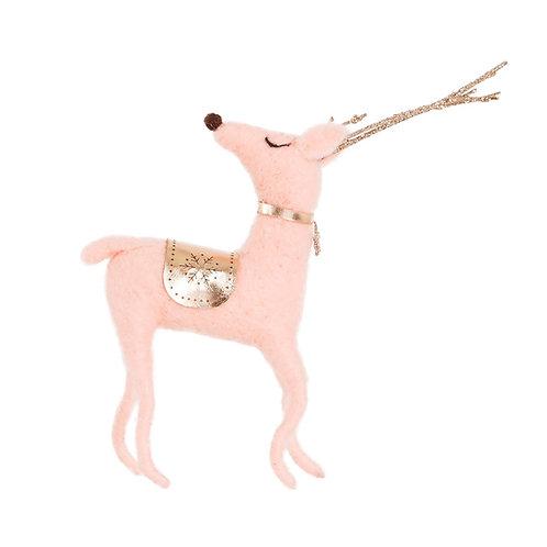 Pink and Gold Wonderland Felt Deer Decoration - Sass & Belle