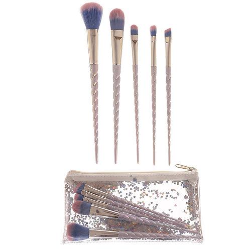 Set of White Unicorn Horn Make-Up Brushes