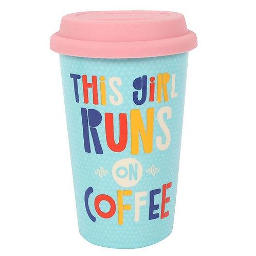 This Girl Runs on Coffee Travel Mug