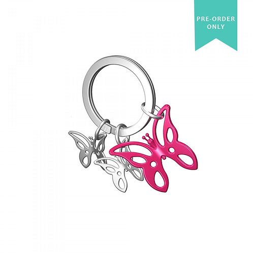 Key Ring - Pink Butterfly