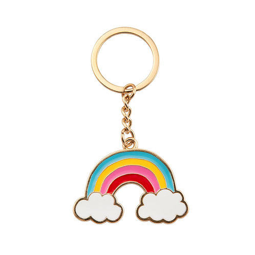 Rainbow With Clouds Enamel Key Ring