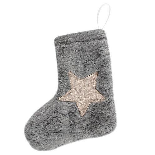Mini Plush Grey Stocking Decoration
