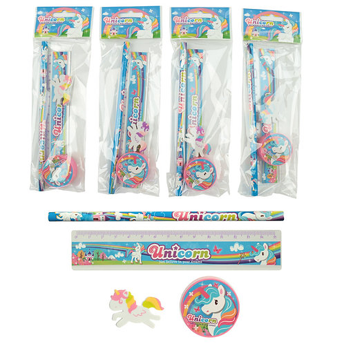 Unicorn 4 Piece Stationery Set