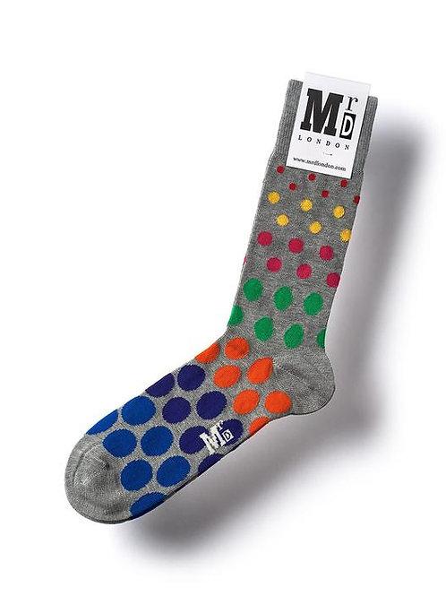 Spotted Fine Sock - Grey Multi