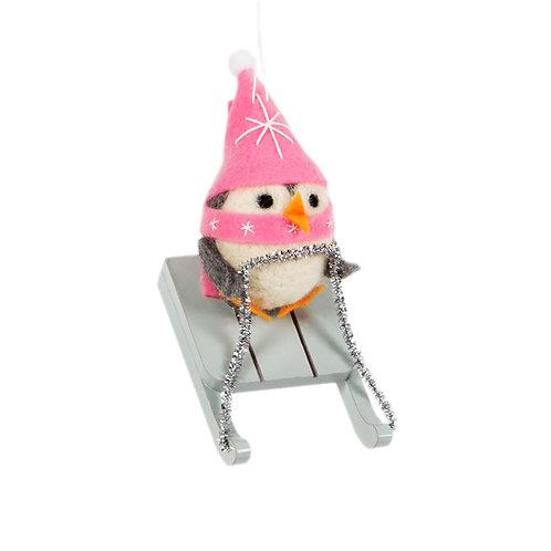 Wonderland Sleigh Penguin Felt Decoration