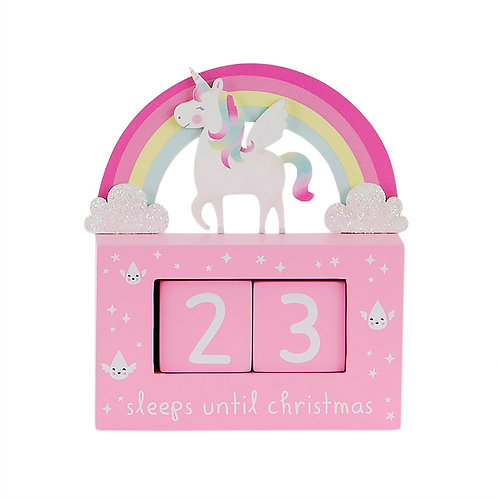 Rainbow Unicorn Christmas Countdown Block