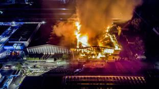 Aerial view a infernal fire in an indust