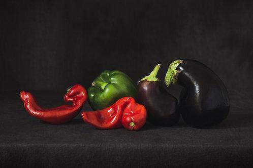 Stilleven met groenten,  foto print op aluminium 75x50, aluminium subframe