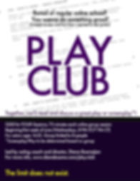 PLAY CLUB for HS and College Weds 8PM ET