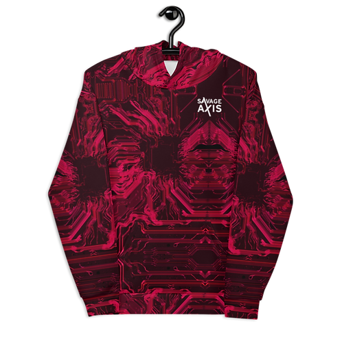 Savage Axis Hoodie Organic Circuit Board Red overload