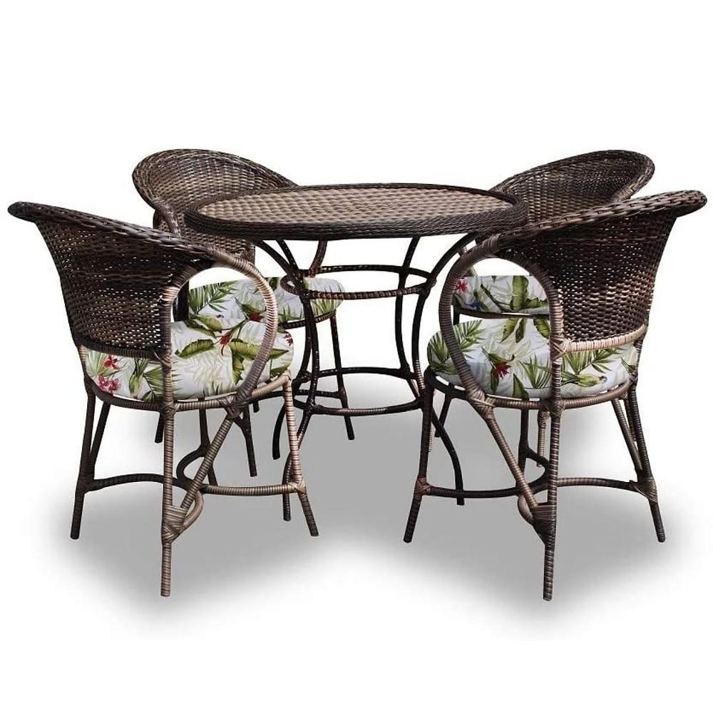 Conjunto tropical de mesa e cadeiras floridas