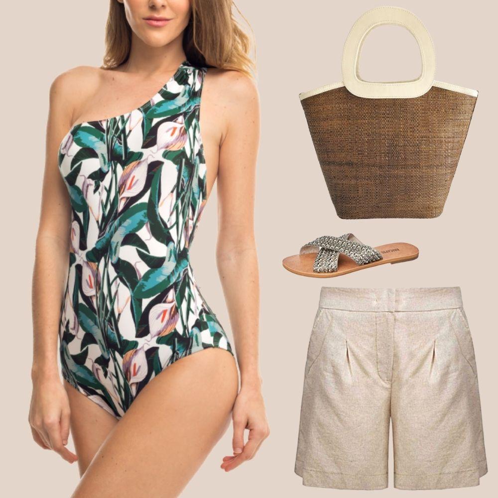 look de praia maiô short bolsa sandália rasteira