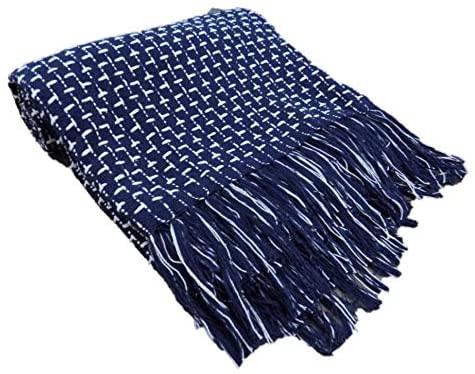 manta para sofá algodão cru azul marinho tear mineiro