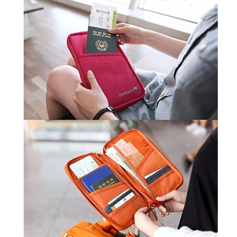 Carteira Porta Passaporte Organizador Documento Cartão Bolsa (Preto)
