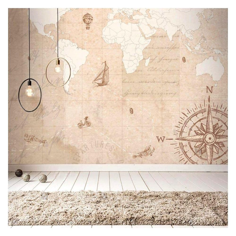 Mural mapa mundi náutico