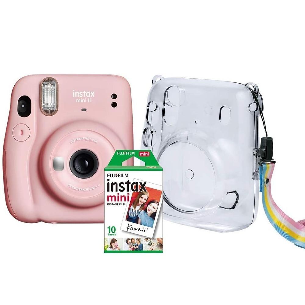 Kit Câmera Instax Mini 11 Fujifilm- Rosa Bolsa