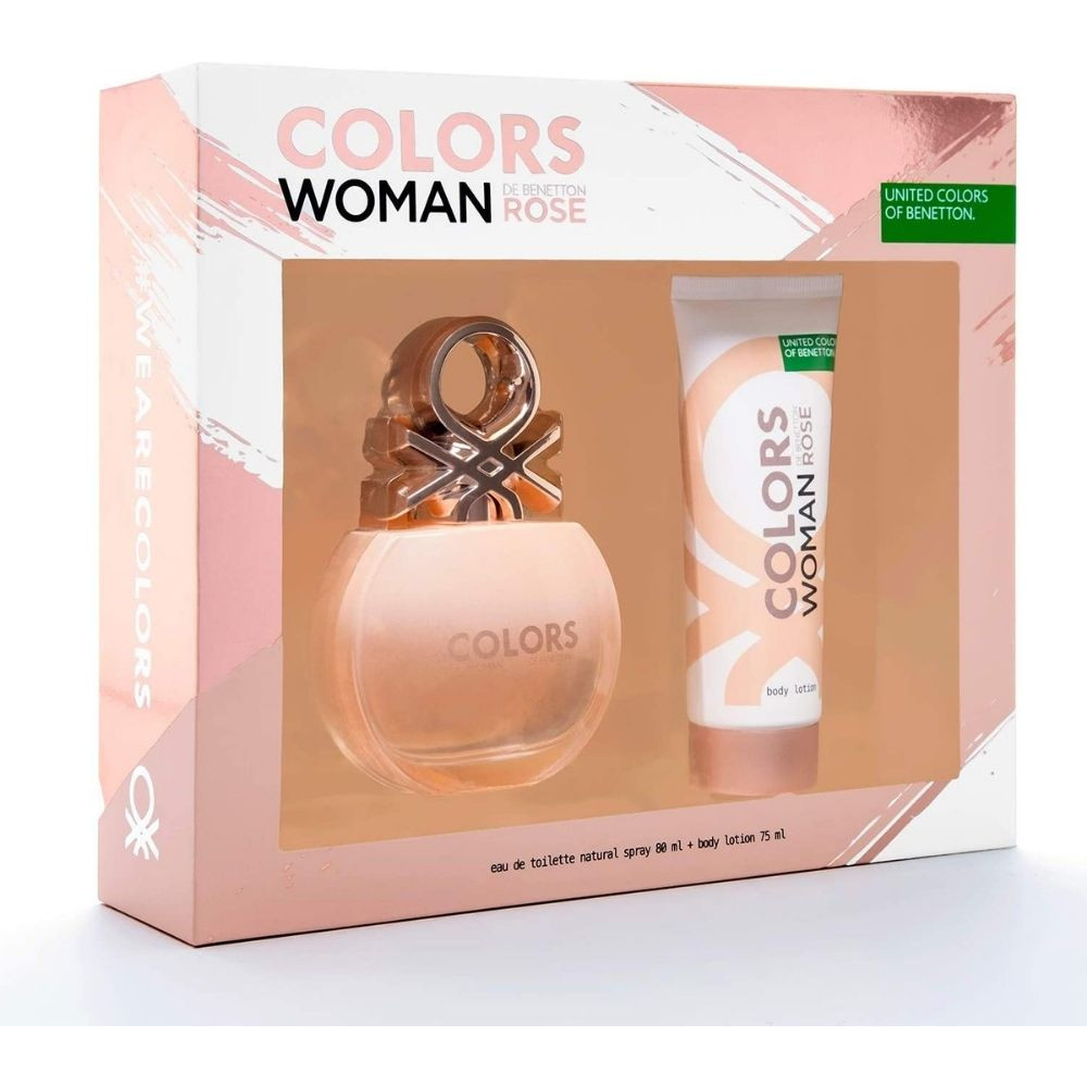 Kit Benneton Colors Woman Rose EDT 80ml + Body Lotion 75 ml