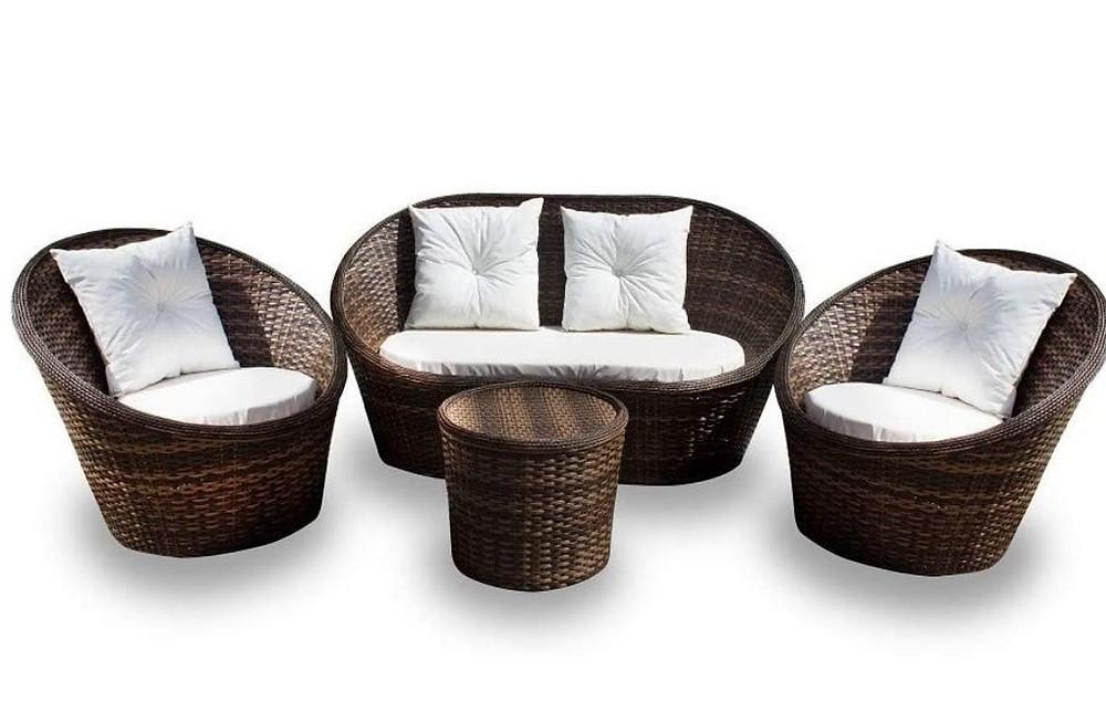 Conjunto de sofá e mesa de centro tropical