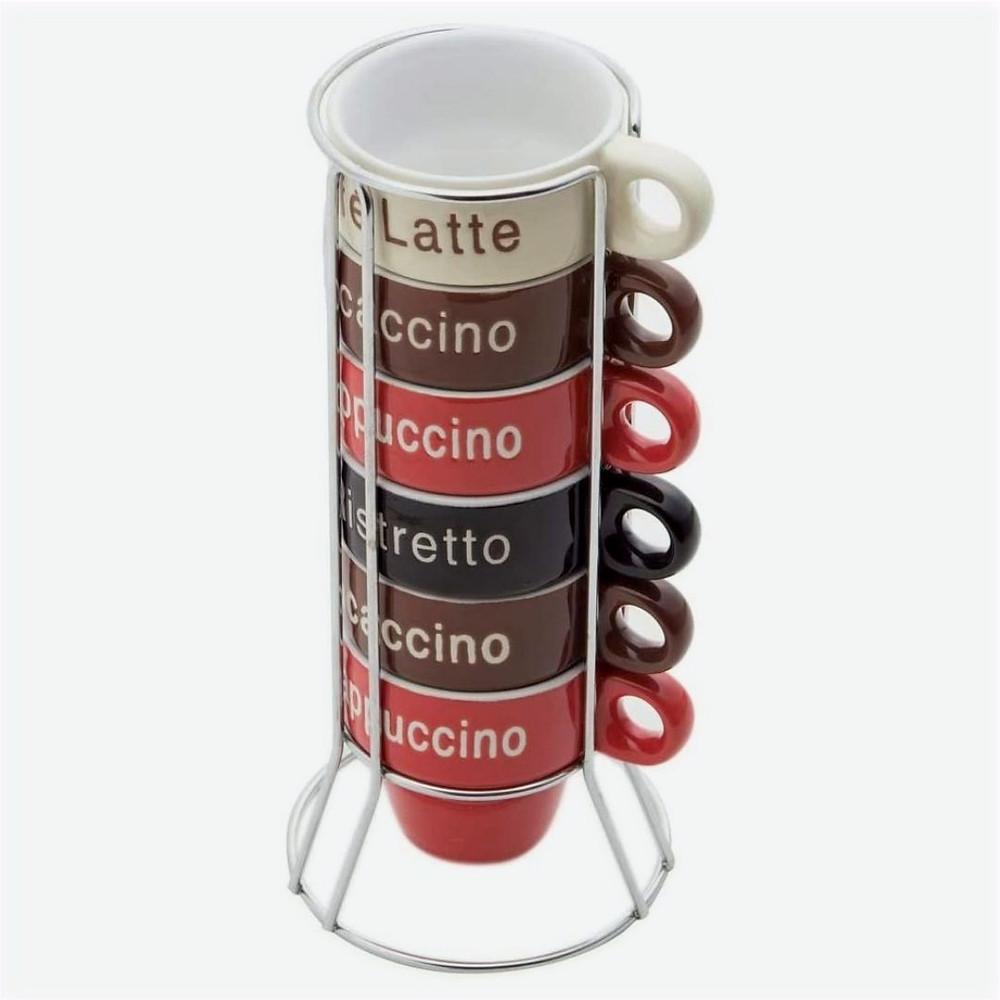 Conjunto de 6 Xícaras de Porcelana para Café com Suporte 70ml