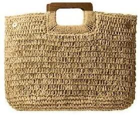 bolsa de palha alça de madeira