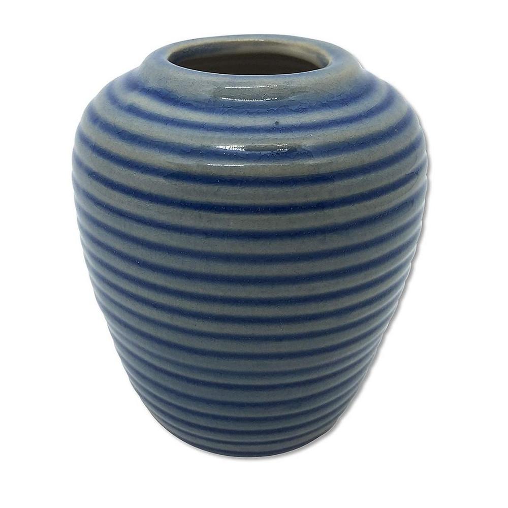 Vaso listrado azul para decoração náutica