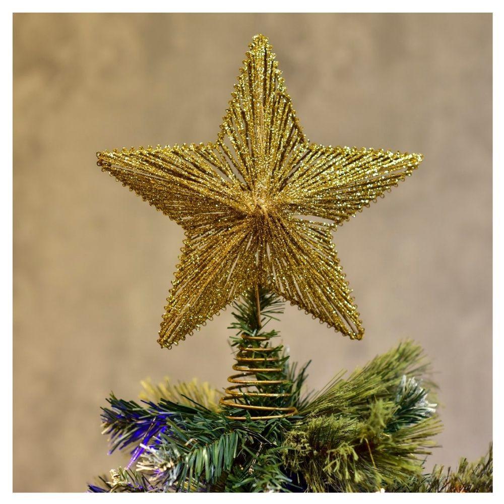 Ponteira para Árvore de Natal Estrela Glitter II Dourada Etna