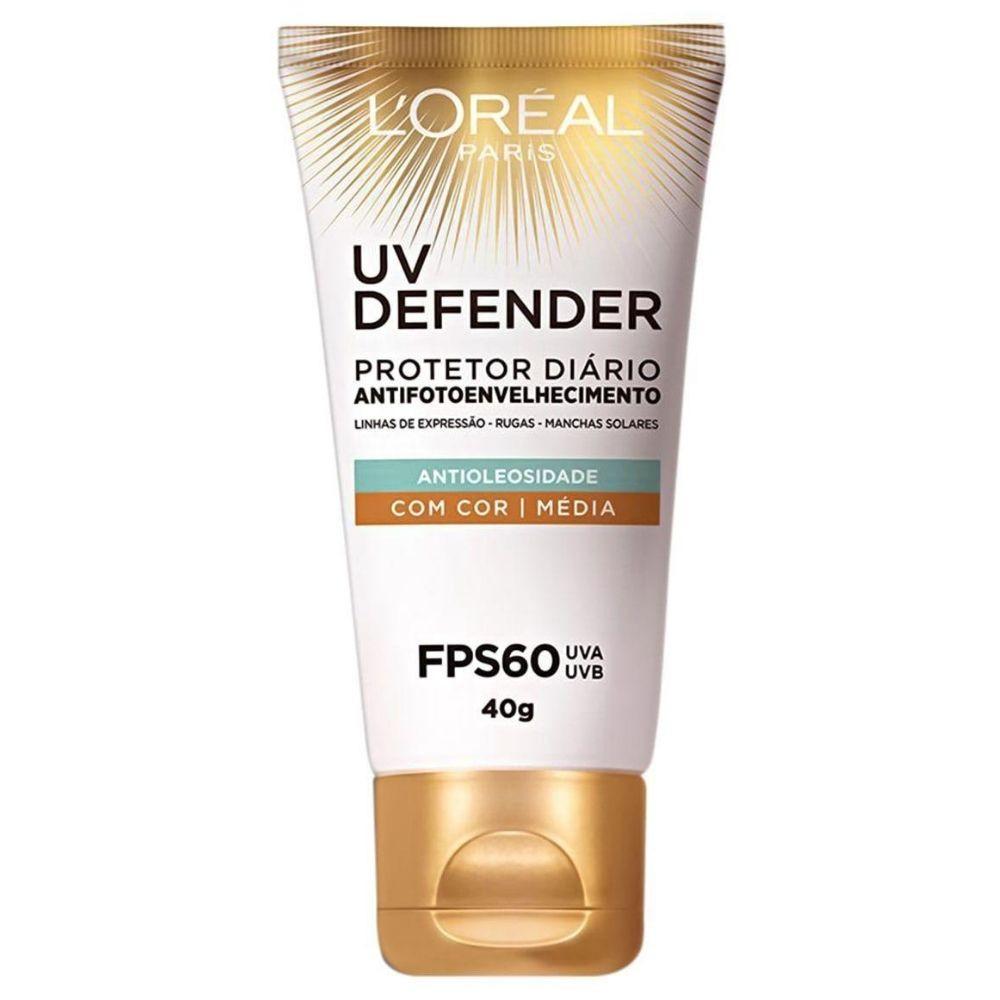 Protetor Solar Facial L'Oréal Paris UV Defender Antioleosidade com Cor Média FPS60