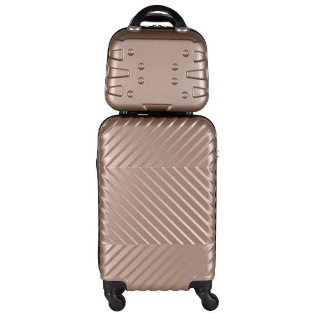 Kit de Mala Bordo Com Frasqueira de Mão em ABS - Roncalli Luxury (Dourada)