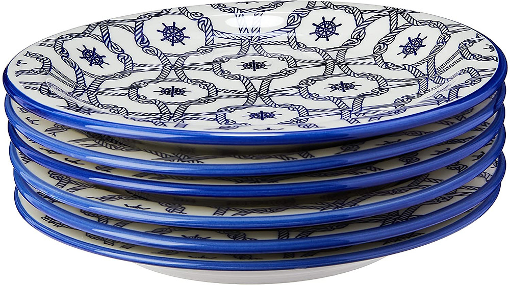Conjunto com 6 Pratos Rasos Oxford Daily  Náutico Branco/Azul
