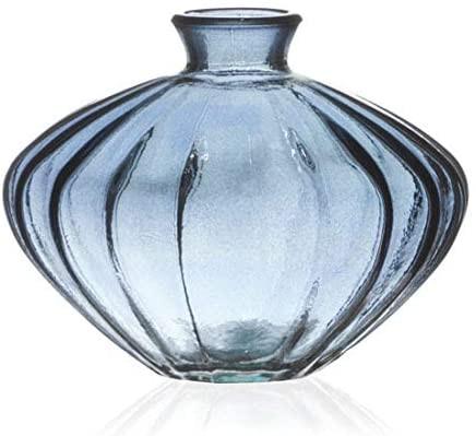 vaso de vidro transparente azul jarron san miguel etna
