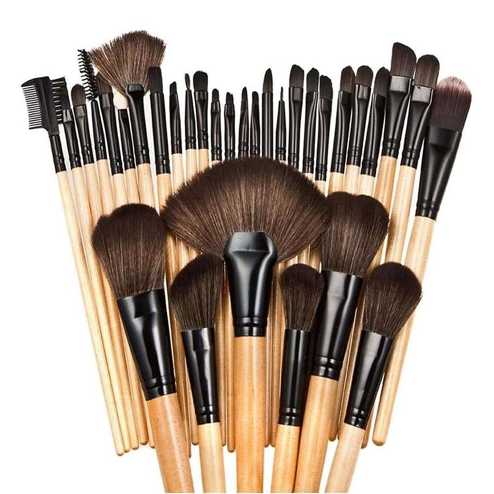 Kit Pincel de Maquiagem com 32 Peças e Estojo