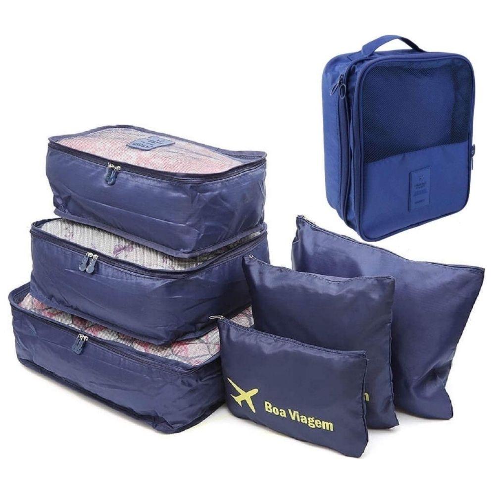 Kit Organizador Mala 6pçs + Necessaire Porta Sapato Viagem (Azul Liso)