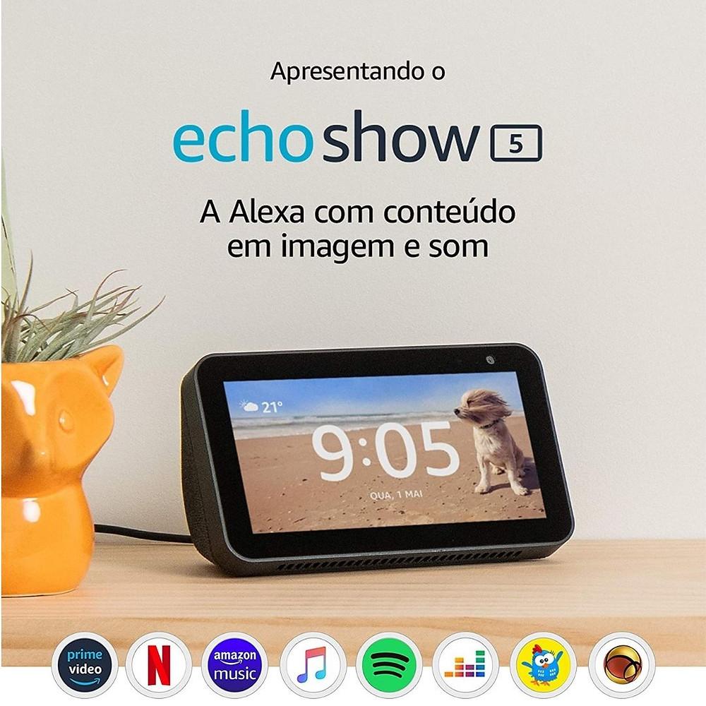 """Echo Show 5 - Smart Speaker tela de 5,5"""" e  Alexa com desconto para o Dia das Mães"""