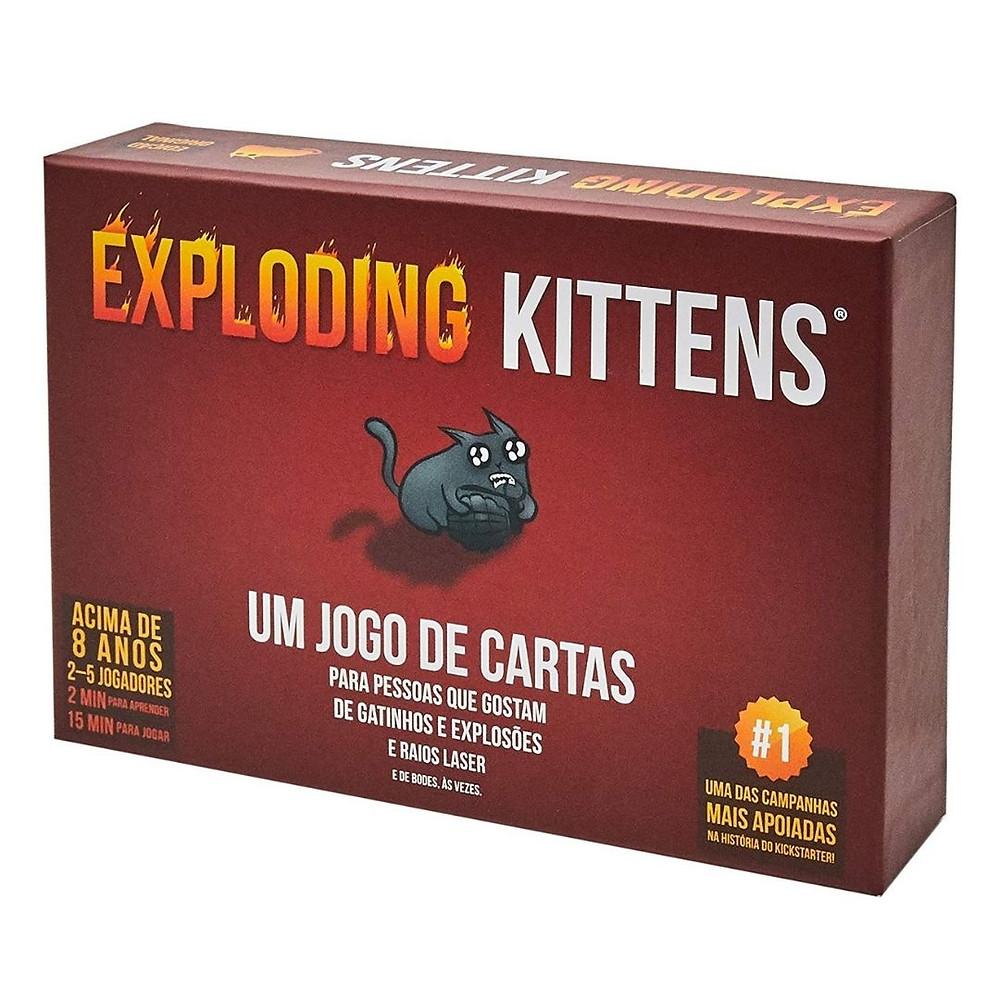 Jogo de cartas Exploding Kittens  de presente até R$100