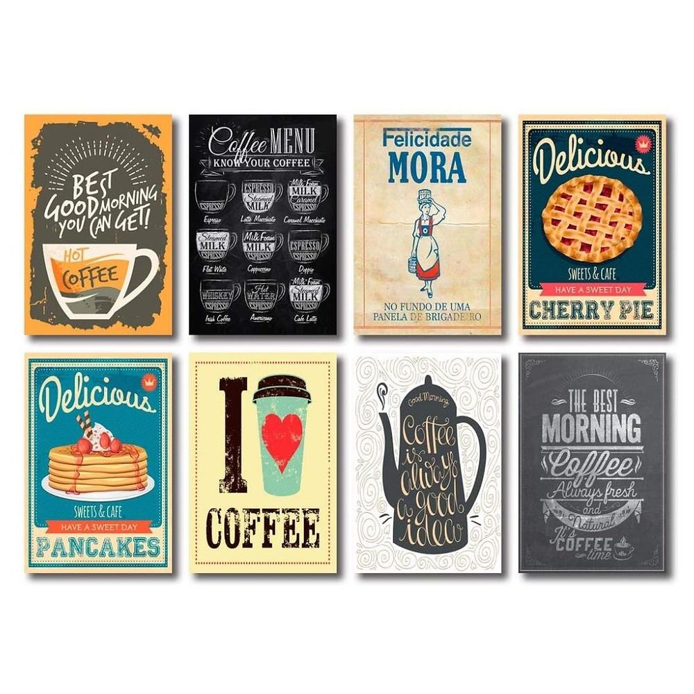 Kit com 8 Placas Decorativas Café Frases Cozinha MDF