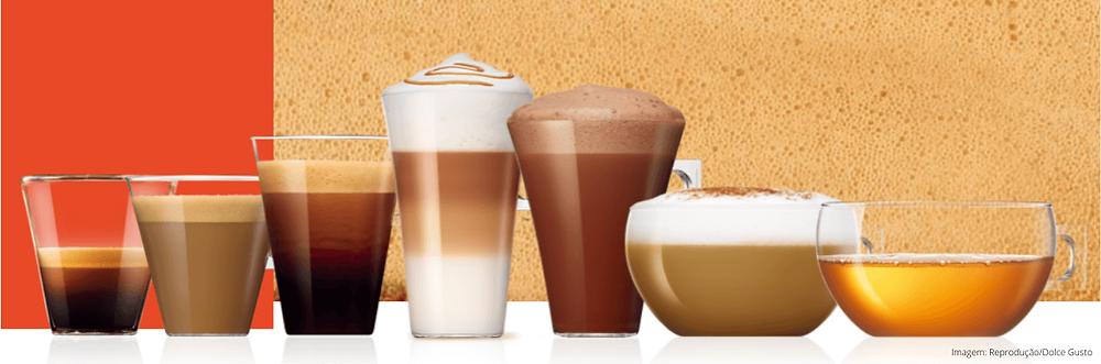 Tipos de bebida de cafeteira expresso de cápsula