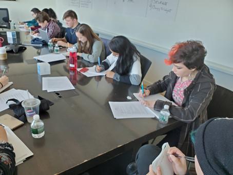 Teens start writing the Listen Up script!