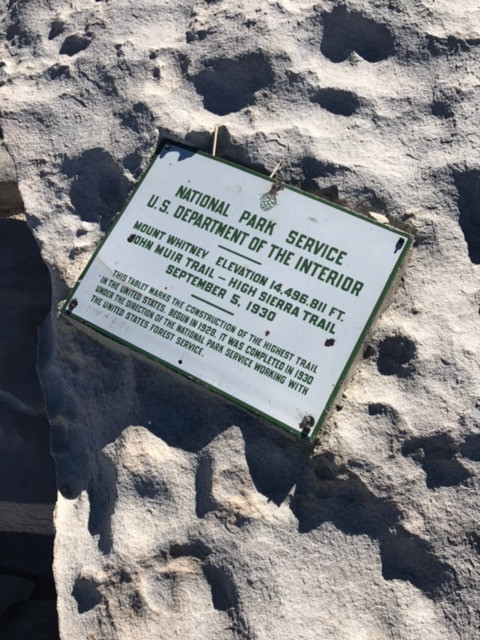 Mt Whitney Summit Sign
