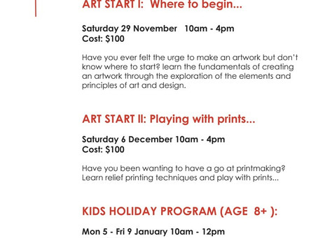 Playing with Prints and Kids Holiday Workshops coming up at the BFS