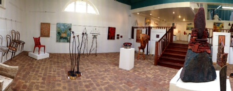 """A series of panoramic photos of our gallery and the current """"Be Seated"""" exhibition"""