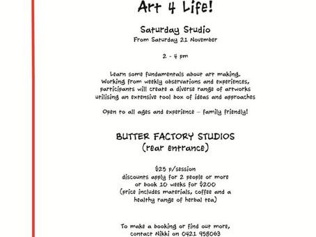 Saturday Studio Sessions starting Saturday 21 November 2015, 2 – 4pm