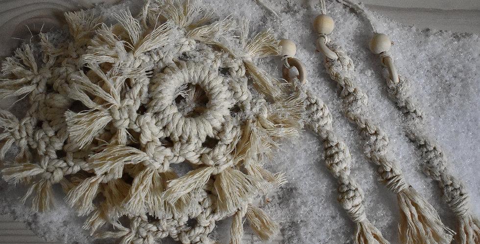 Macrame Snowflake & Icicle Ornament Set