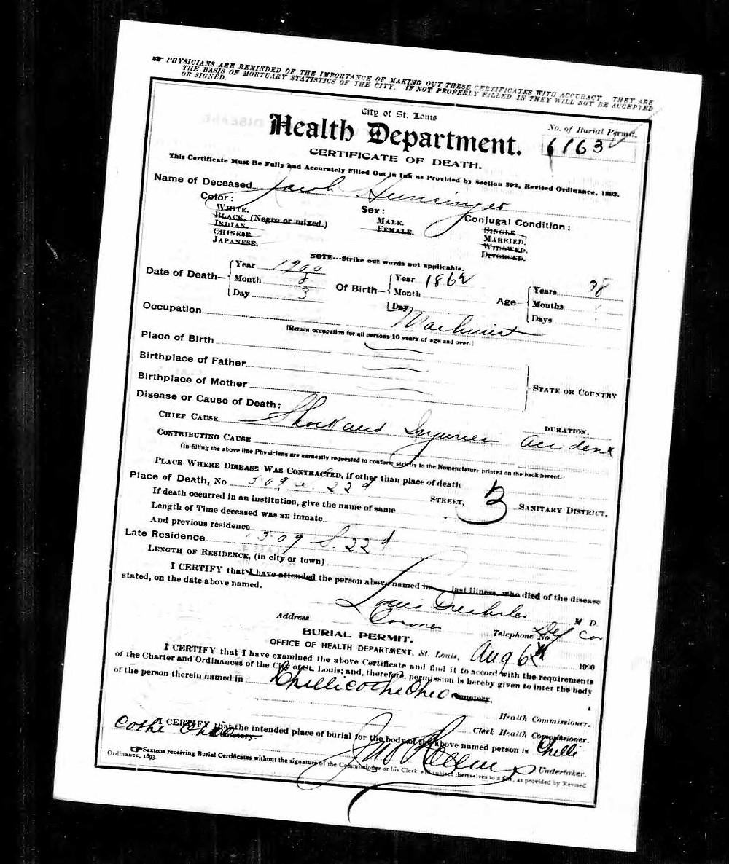 Jacob Hunsinger's death certificate.