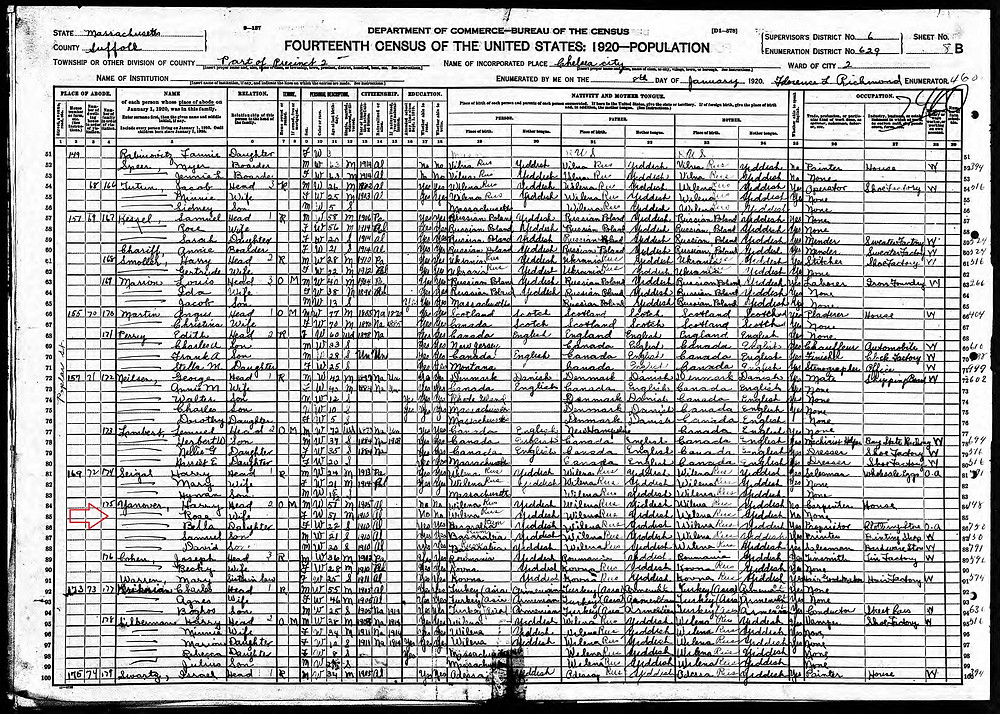 1920 census for Yanovers