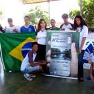 Banner instalado na Escola Municipal Maria Lourencina Palmério