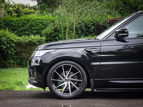 Black Range Rover Sport on HAWKE Arion wheels in Black Polished colour finish