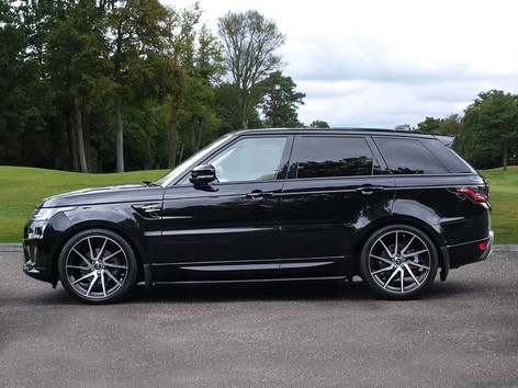 Black Range Rover Sport on HAWKE Arion wheels in Black Polished colour finish